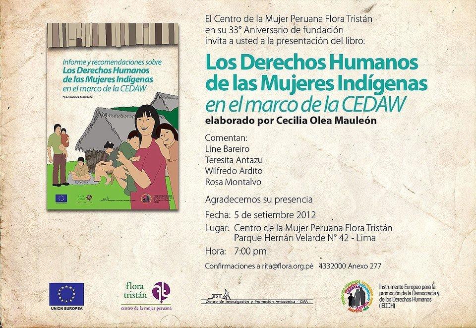 Flora Tristán presentará libro sobre derechos humanos de las mujeres indígenas