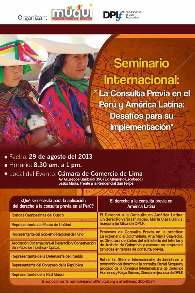 29 de agosto: realizarán seminario sobre los desafíos de la consulta previa en Perú y Latinoamérica