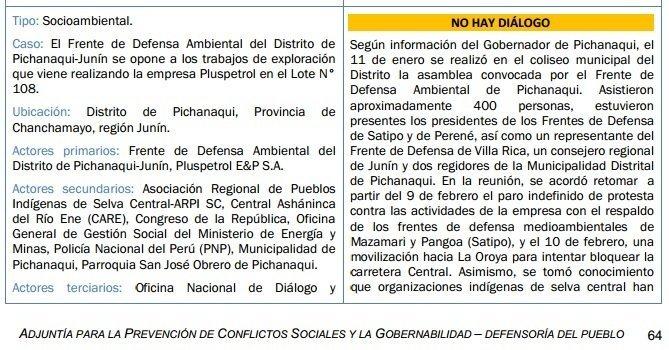 Informe de la Defensoría sobre el conflicto en Pichanaki - 1