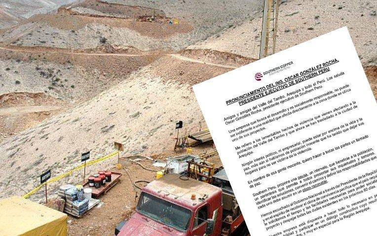 Southern Copper cancela Tía María