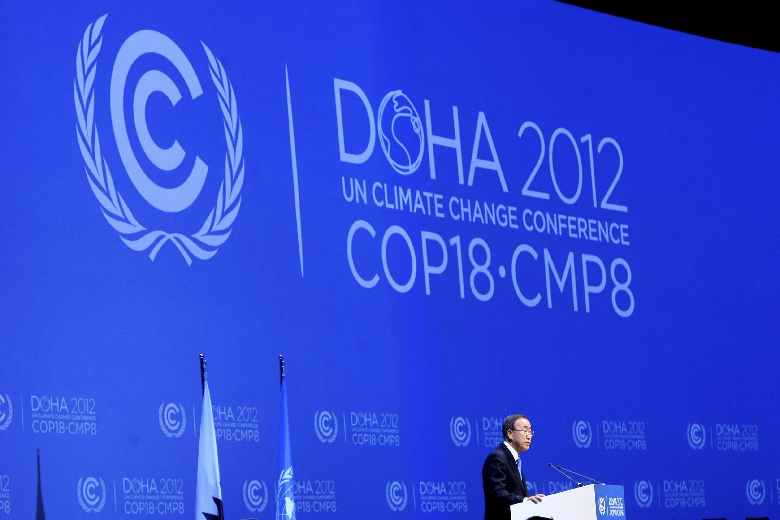 U.N. Secretary-General Ban talks during opening ceremony of plenary session of 18th session of COP18 in Doha