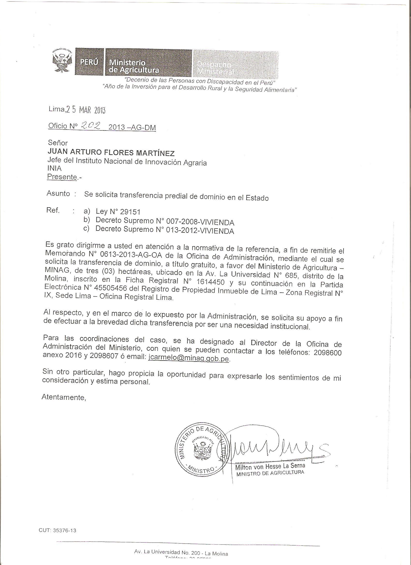 CARTA DEL MINISTRO AGRICULTURA PIDIENDO 3 Hras. al INIA