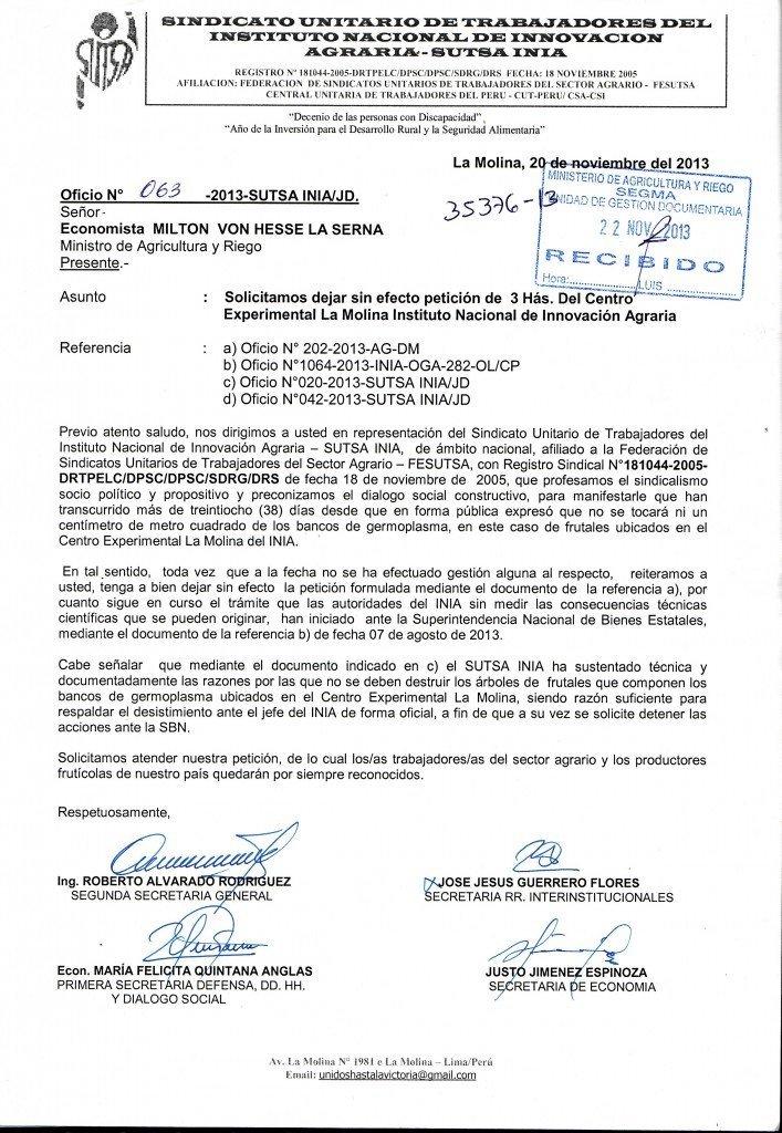OFICIO SUTSA INIA PARA MINISTRO MINAGRI DESISTIMIENTO DE 3 HAS.