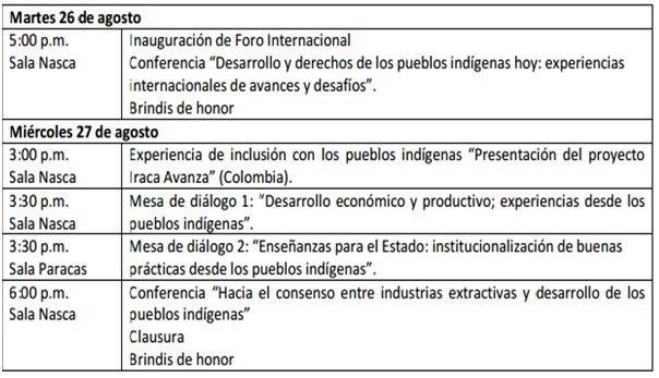 agenda de foro de pueblos indígenas