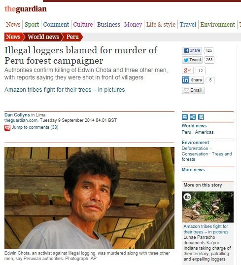 The Guardian informó sobre el asesinato
