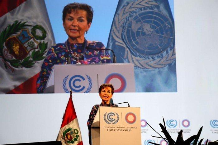 Christiana Figueres, Secretaria Ejecutiva de la Convención Marco de Naciones Unidas sobre el Cambio Climático, en la inauguración de la COP20