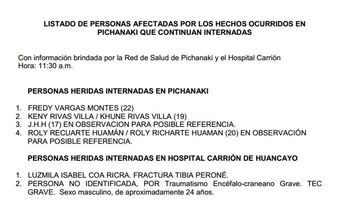 Lista de heridos en Pichanaki según la Defensoría del Pueblo