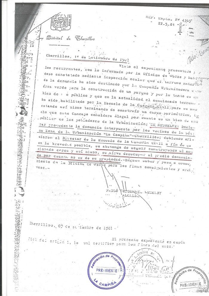 Orden de la Municipalidad de Chorrillos para detener las obras del cercado del parque
