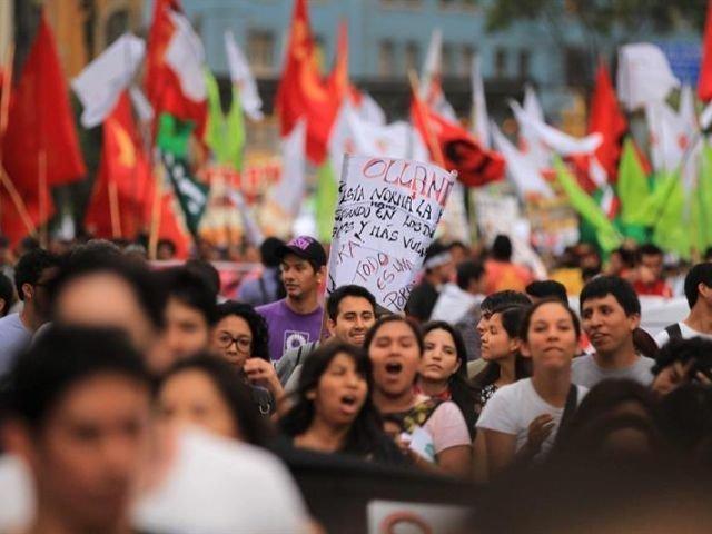 Marchas y protestas en Perú. Foto: RPP
