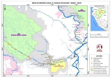 Mapade minería ilegal Pucacuro - Nanay - Napo